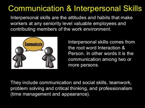 communication and interpersonal skills