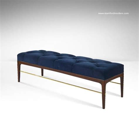 bench yorkdale blue velvet bench brass rodded bench in tufted blue velvet