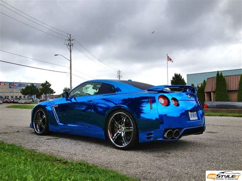 chrome nissan nissan gtr blue chrome wrap vehicle customization shop