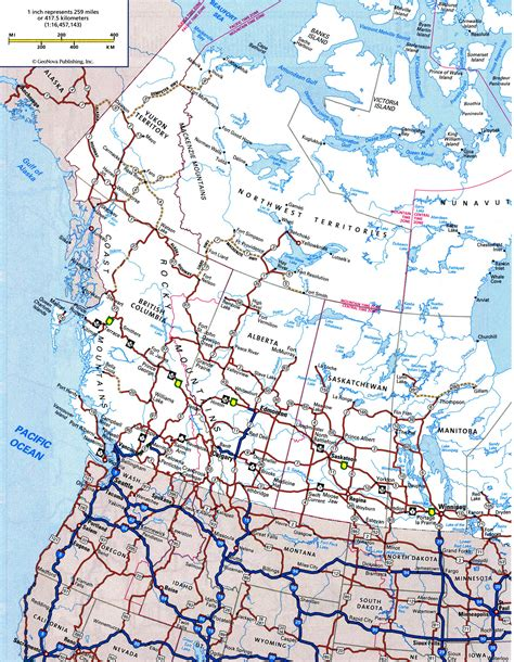 road map usa and canada canada