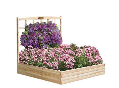 menards raised garden bed cedar raised bed with trellis at menards garden pinterest