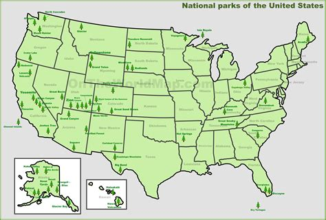 usa map with national parks usa national parks map
