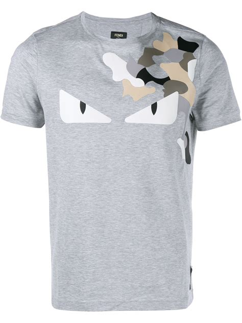 t shirt lyst fendi camo monster t shirt in gray for men