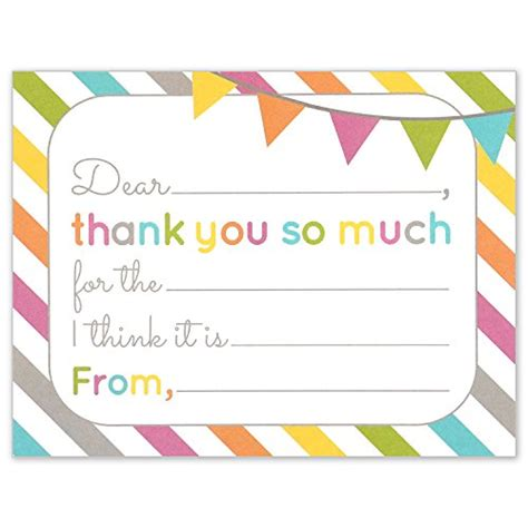 Fill In The Blank Thank You Card Template by 25 Rainbow Banner Thank You Cards Fill In Thank You