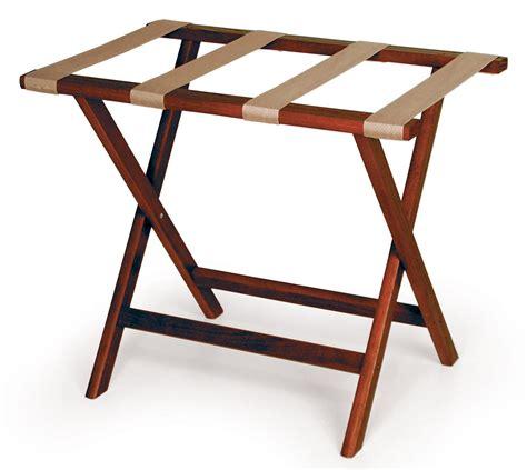 wood luggage rack red mahogany  tan straps
