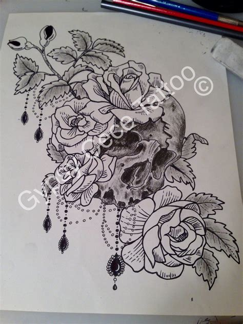 vintage rose tattoo designs vintage roses skull design by gypsycece