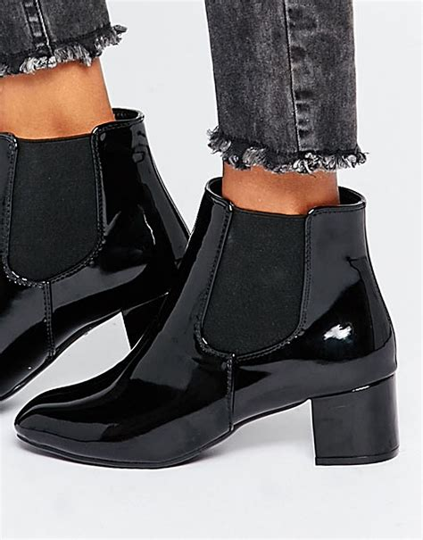 black patent chelsea boots in black lyst
