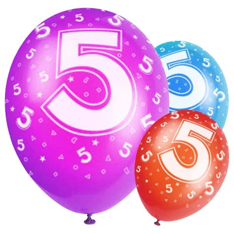 Birthday balloons age 5 party balloons amp decorations party pieces