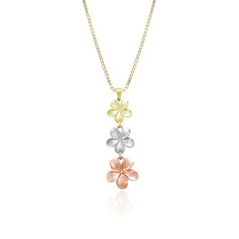 plumeria three flower pendant tri color gold