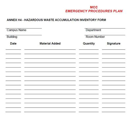 hazardous waste contingency plan template pin chemical inventory by dominik on