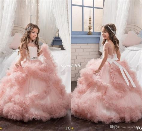 design flower girl blush ball gown short sleeves flower girl dresses crystals