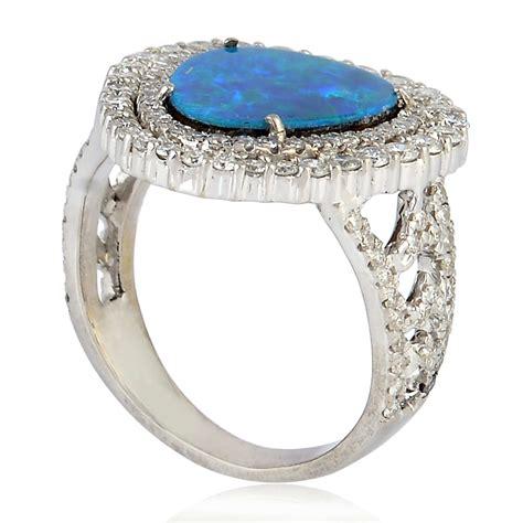 australian opal pave 18k white gold designer ring