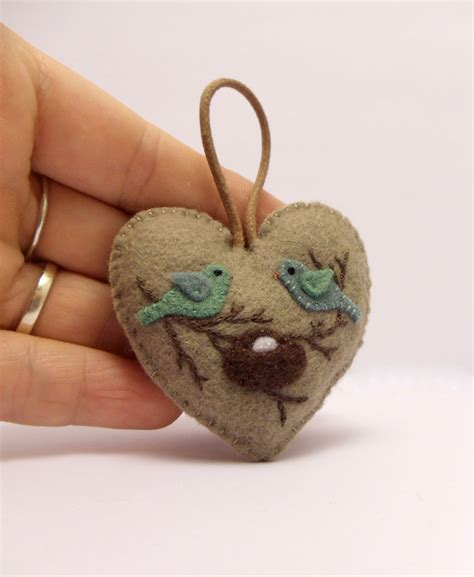 Handcrafted Hearts - expecting parents felt ornament