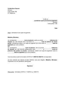 lettre de demande de copie de jugement mod 232 le de lettre