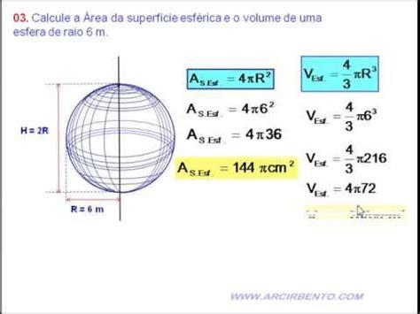 calcular a area da superficie de um cubo exerc 237 cio 03 volume e 193 rea da esfera youtube