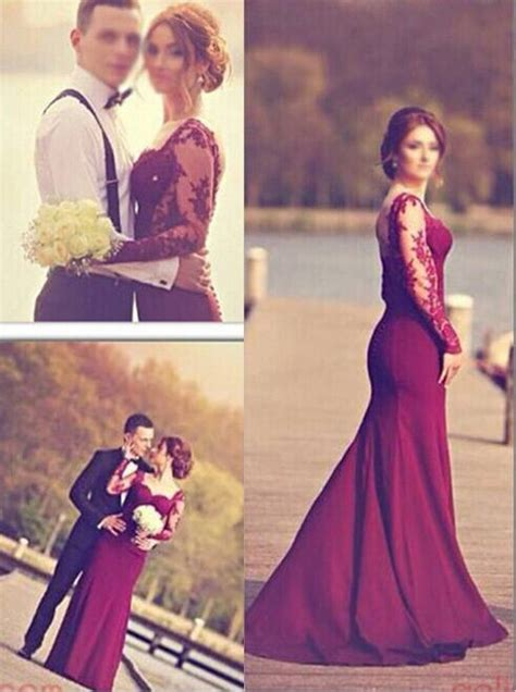 ulass 2016 mermaid evening gowns sleeves lace open back wedding dresses