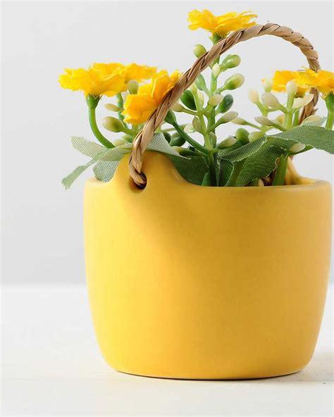10 ceramic flower pot 10cm aglaia odorata silk flower in ceramic pot