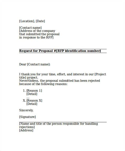 Rejection Letter Rfp bid rejection letter funding rejection letter project