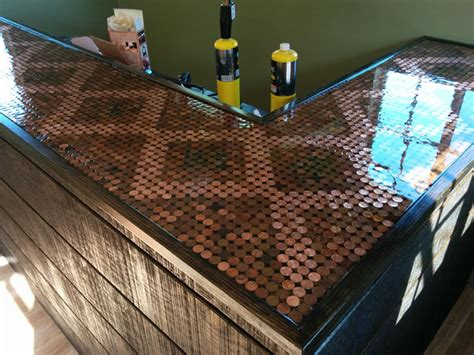 penny bar top he made his pubshed incredible with 5 500 pennies