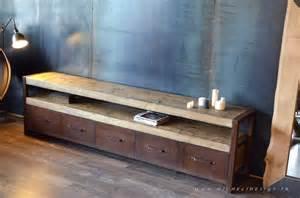 meuble acier rouill 233 bois vieilli 5 tiroirs micheli design
