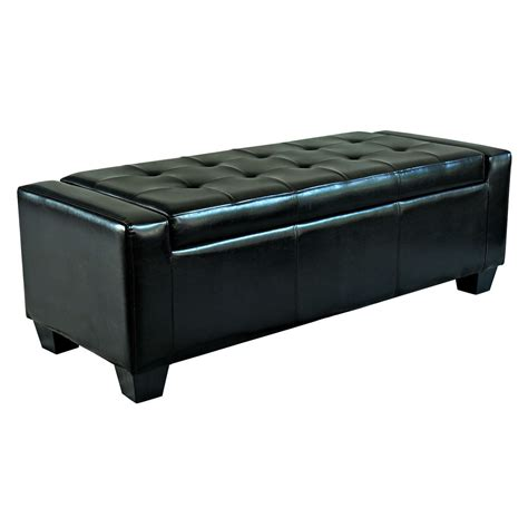 Storage Seat Bench Homcom Modern Faux Leather Ottoman Footrest Sofa Shoe Storage Bench Seat Black Ebay