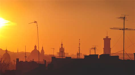 hd wallpaper lviv sunset roof ukraine