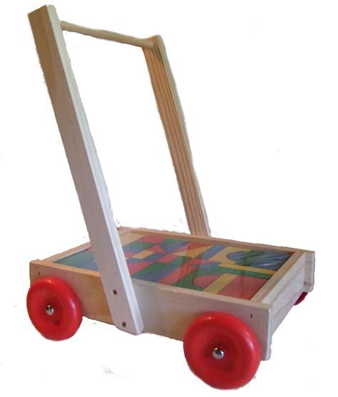 wooden nz wooden walker wagon with blocks nz made squoodles ltd