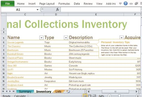Personal Jewelry Inventory Template Personal Inventory Log Template For Excel