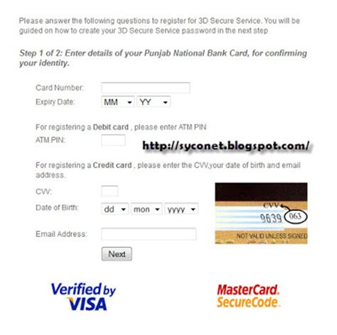 Credit Card Application Form Pnb How To Set Secure Code For Pnb Debit Credit Card Syconet