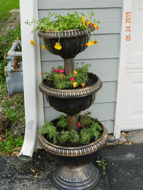 Splendid Square Wooden And Wrought Iron 3 Tier Flower 3 Tier Planter
