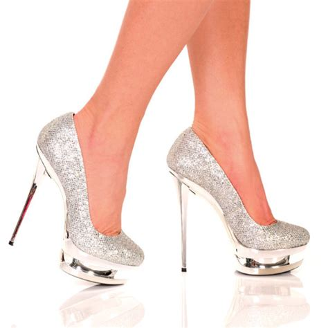 Platform High Heel Glitter Pumps shoes the highest heel glitter pumps high heels