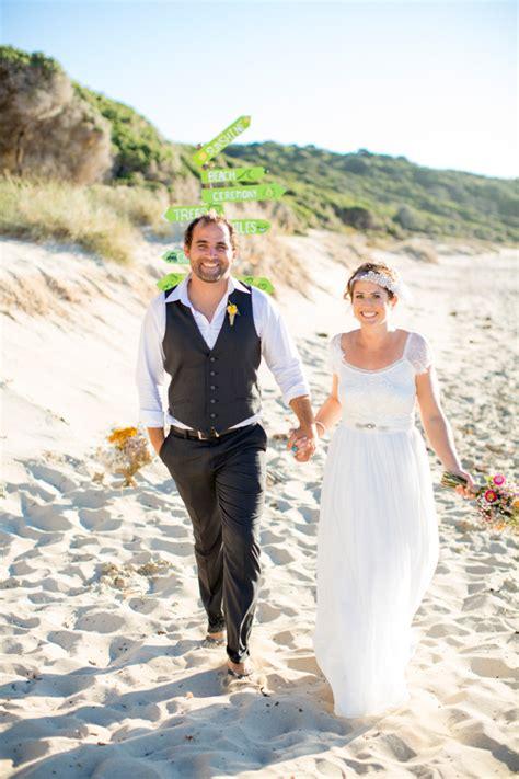 bright casual beach wedding polka dot bride
