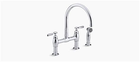 kohler parq two hole deck mount kitchen sink faucet with 9 standard plumbing supply product kohler k 6131 4 sn