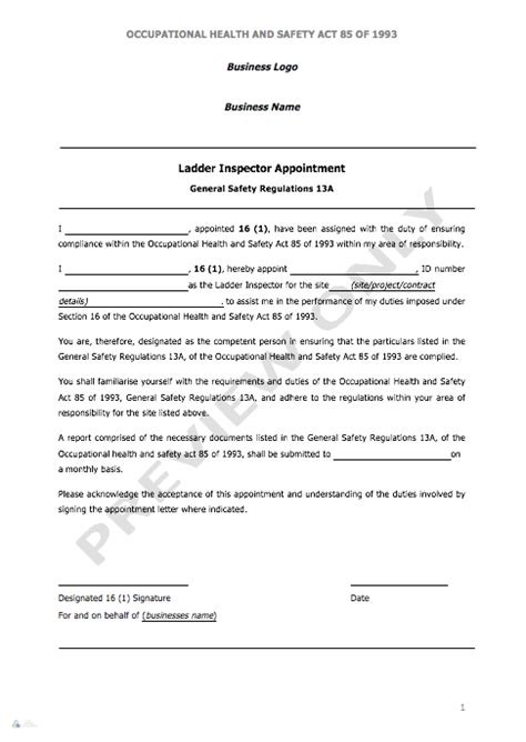appointment letter for ladder inspector aj safety consultants pty ltd