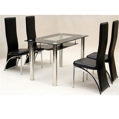 Glass Dining Table And Chair Sets Kitchen Chairs Kitchen Table 4 Chairs