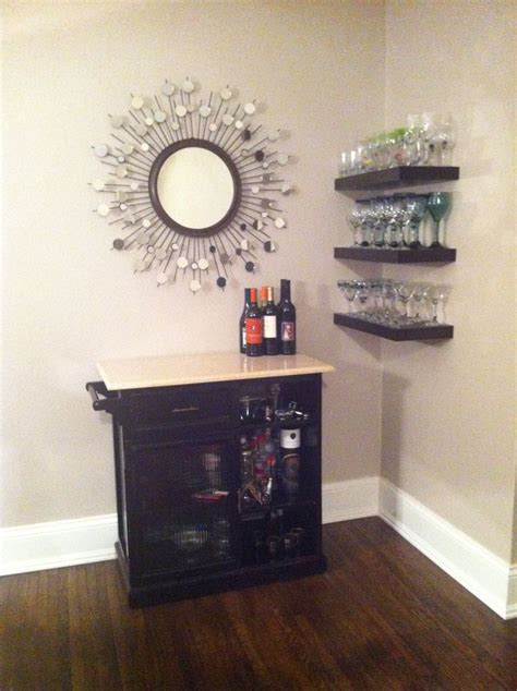 small home bar like the corner shelves home ideas