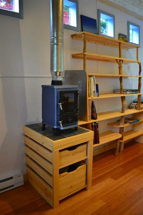 tiny house wood stove hornby island caravan s tiny home your next office or micro guest house