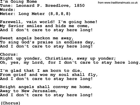 sacred harp song i m going home lyrics and pdf