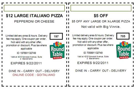 Table Discount Code by 12 Large Italiano Pizza 12 Large Italiano Pizza