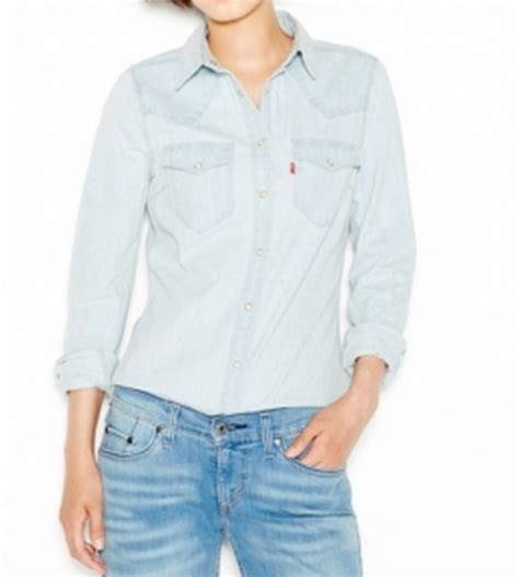 Light Blue Button Shirt Womens by Levi S New Light Blue Chambray Womens Us Size Small S