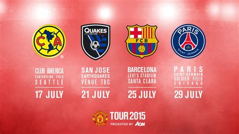 Calendario Manchester United Manchester United S Tour 2015 Schedule Official
