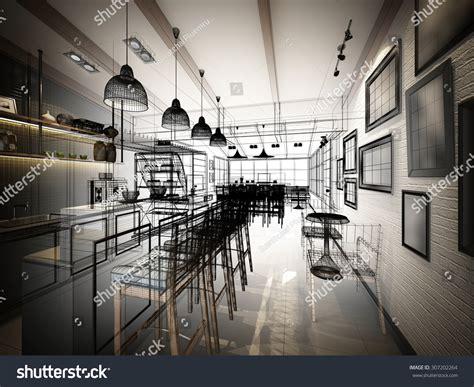 coffee shop design architecture forum sketch design coffee shop 3d wire stock illustration