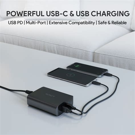 Aukey 5 Port Charge Oc 3 0 Pa T15 Pat15 Black Hitam aukey pa y12 60w usb c power delivery 3 0 dual port usb