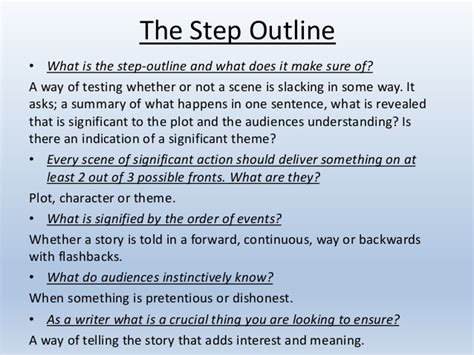 Script Step Outline by Screenwriting Theory