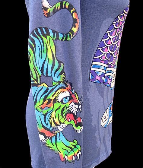S3730 Atasan Import Yellow White Tiger Thin Co Kode Yt3730 1 don ed hardy christian audigier purple kimono geisha tiger shirt nwt large ebay