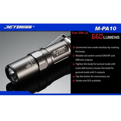 Senter Cree T6 jetbeam m pa10 senter led cree xm l2 t6 660 lumens