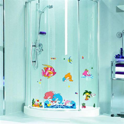 waterproof bathroom stickers cartoon dolphin glass sticker bathtub bathroom decorative