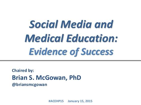 social media medicine and health social media in medical education final deck for acehp15