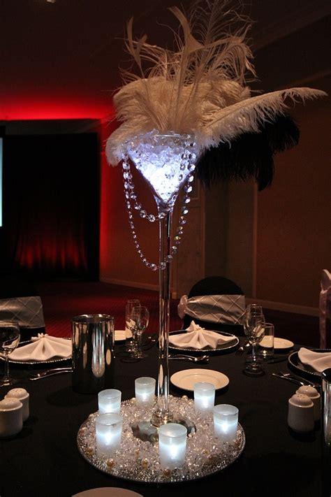 gatsby theme ostrich feather centerpiece martini vase
