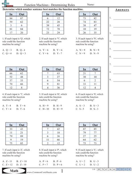 pattern math standard patterns function machine worksheets free printable